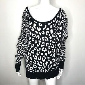 Torrid Black Cheetah Print Cotton Sweater Size 1